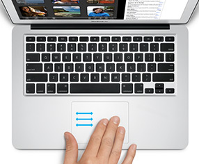 Three finger swype on Mac OS X Lion